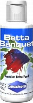 Betta Banquet Premium Betta Food 30gm 3pks, Seachem -- Betta Banquet is THE premium food for Bettas.  It contains only the highest quality ingredients (krill & fish meal) without low nutritional value fillers (e.g. corn meal).  It contains a broad spectrum of all the important components needed in a Betta's diet: protein, fat, carbohydrates, vitamins and minerals. Betta Banquet is different from other foods on the market because of its high nutritional value and palatability.