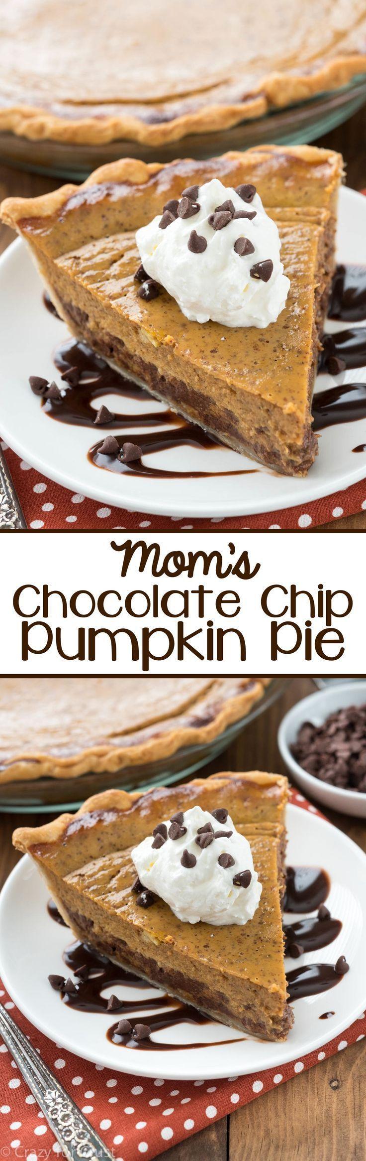 Mom's Chocolate Chip Pumpkin Pie - this easy pumpkin pie recipe is a family favorite! A traditional pumpkin pie that's filled with chocolate chips!