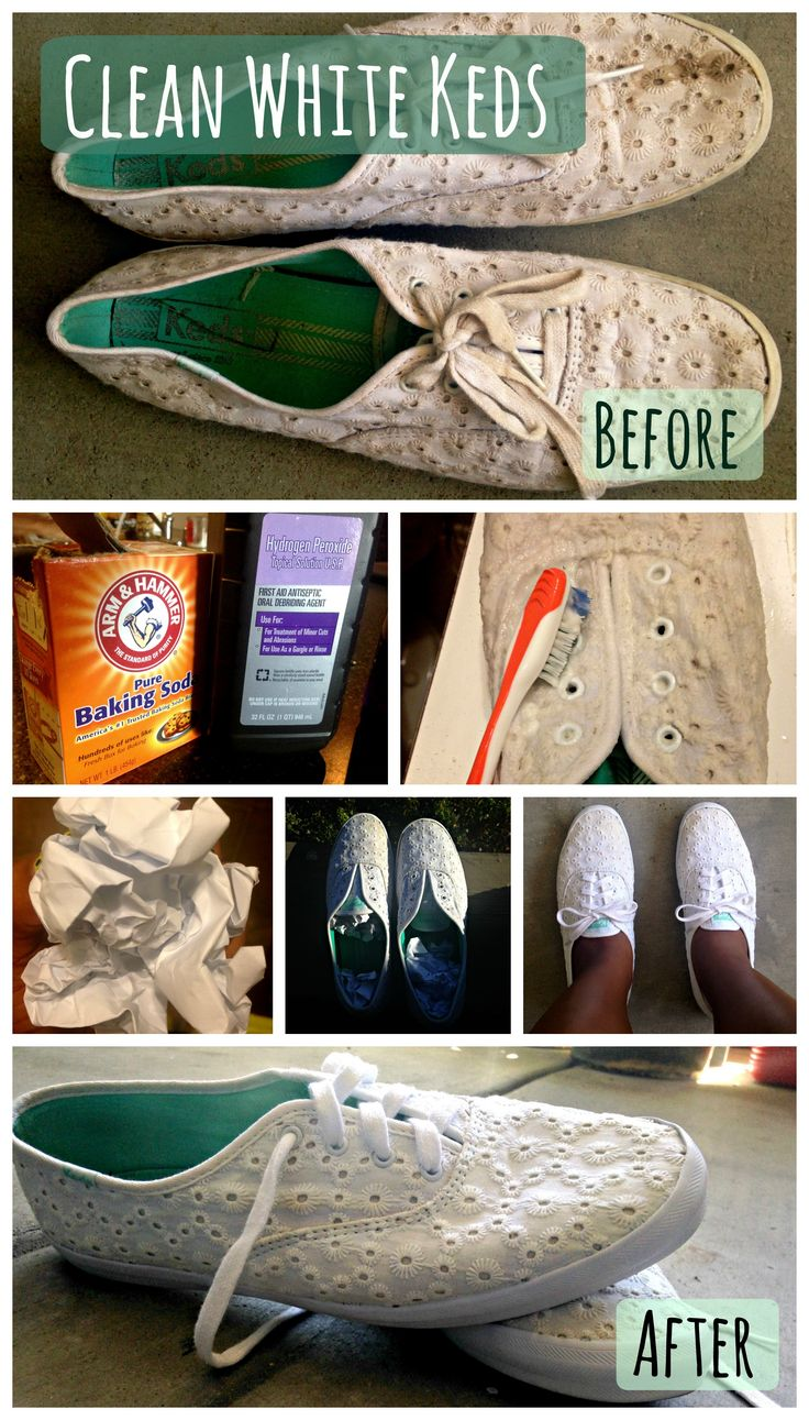 How to clean white Keds or sneakers! 1. Mix hydrogen peroxide and baking soda together to make a paste. 2. Dip your sneakers into warm water. 3. Scrub the wet sneakers with the paste using an old toothbrush and rinse! 3. Stuff your sneakers with WHITE crumpled up paper. This will help them dry faster and retain their shape! 4. Place them outside so that then can dry. 5. Enjoy your white sneakers!   #clean #keds #sneakers