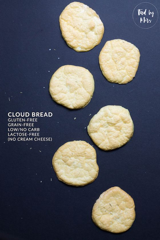 Easy Cloud Bread without cream cheese (lactose-free, grain-free, low-carb)  http://www.foodbymars.com/home/2016/easy-cloud-bread-without-cream-cheese-lactose-free-grain-free-low-carb