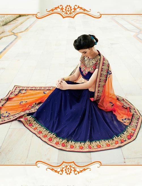 Blue And Orange Net & Georgette Saree With Blouse $139.01 For Order whtsap at 9582233490 #designer #wedding #bridal #partywear #womenswear #saree