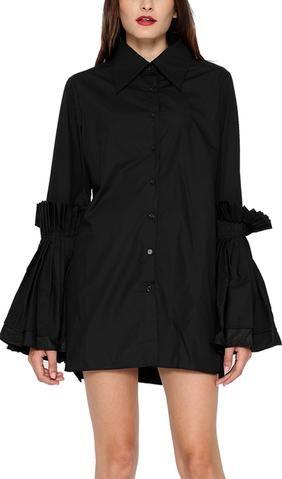 Pleated-Flared-Sleeve Shirt - Black or White