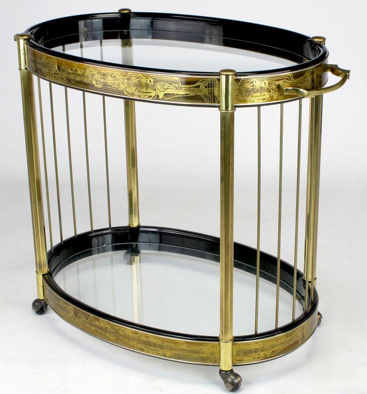 bernhard rohne etched brass oval bar cart by mastercraft. Black Bedroom Furniture Sets. Home Design Ideas