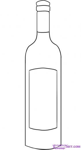 Wine Bottle Template | Step 4 How To Draw A Wine Bottle Sac Pinterest Drawings Wine