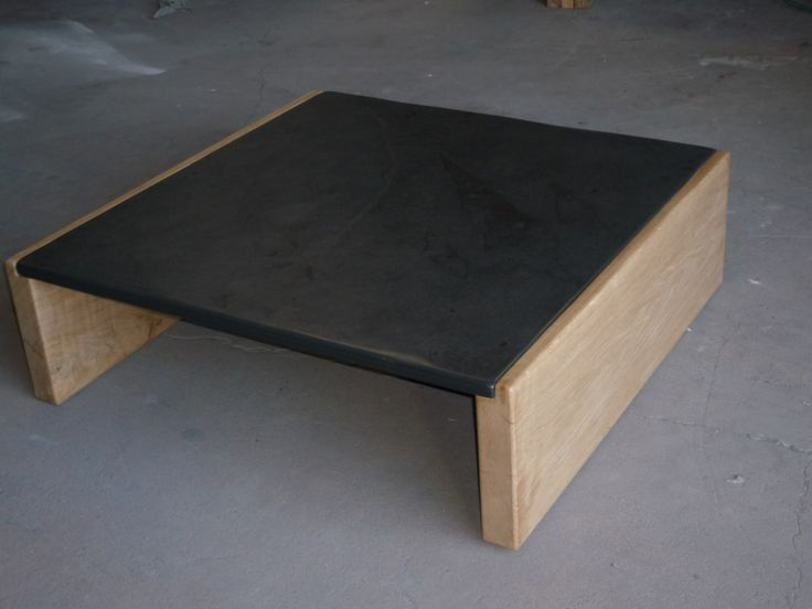 1mtr X 1mtr Oak U0026 Slate Coffee Table