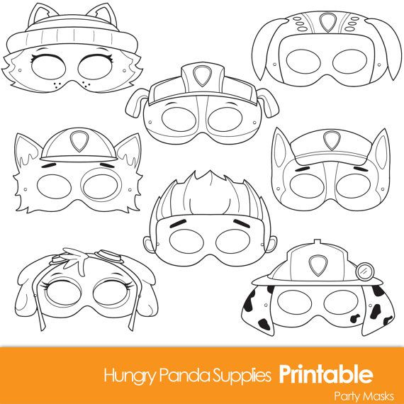 Paws Printable Coloring Masks dog masks by HappilyAfterDesigns
