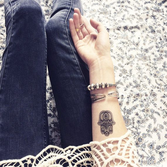 Boho Tattoo fatima hamsa Hand Pattern Tattoo Temporary Tattoo