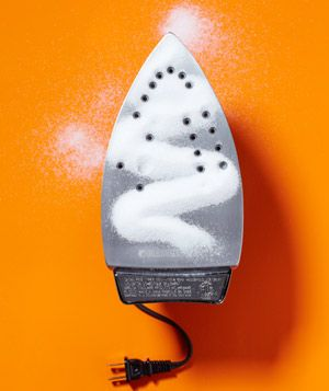 Salt as Iron Cleaner  Eliminate sticky residue from an iron. Run the hot iron (no steam) over plain paper sprinkled with salt.