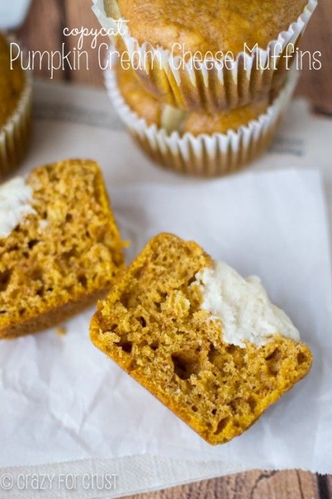 Pumpkin Cream Cheese Muffins - a Starbucks copycat! | crazyforcrust.com