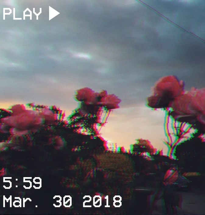 M O O N V E I N S 1 0 1 Vhs Aesthetic Glitch Sunset Purple Pink Trees Clouds Sky Aesthetic Aesthetic Backgrounds Aesthetic Photography