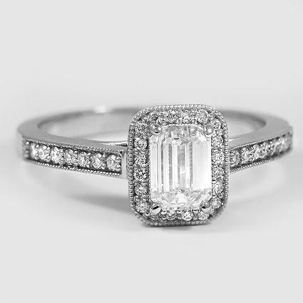Platinum Felicity Diamond Ring // Set with a 1.01 Carat, Emerald, Very Good Cut, H Color, SI1 Clarity Diamond