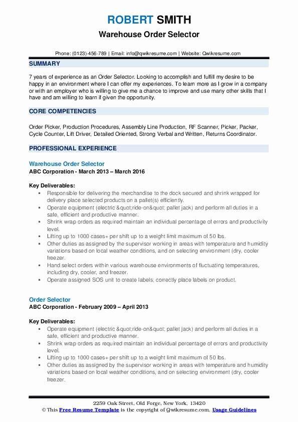 Packer Job Description Resume Best Of Order Selector Resume Samples In 2020 Human Resources Resume Job Resume Samples Resume Examples