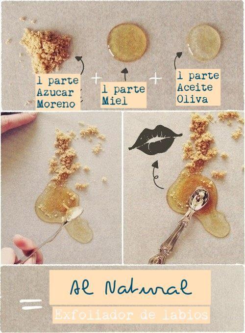 Exfoliador de labios: Sabes cuando se te ponen los labios resecos y se llenan de pellejitos o estan opacos? Pues para dejarlos suaves, humectados y bellos te recomendamos este exfoliante de labios casero: Mezcla azucar moreno, miel y aceite de oliva, una cucharadita de cada uno de esos ingredientes debería de ser suficiente y aplica haciendo movimientos circulares en tus labios deja 5 minutos y enguaja, labios listos!