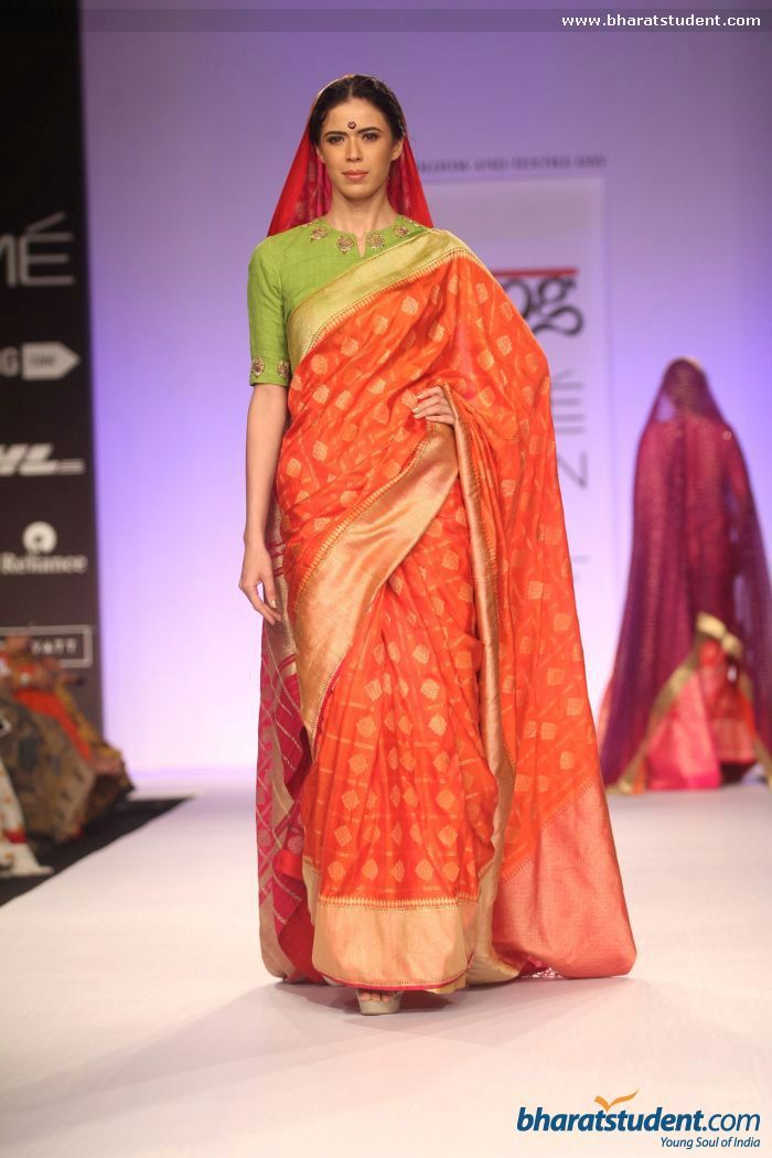 Red sari. Gaurang Show at Lakme Fashion Week Summer/Resort 2014