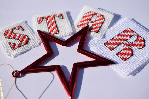 Christmas cross stitch / alphabet sampler / Candy cane use code PIN10 to get 10% off in my Etsy store