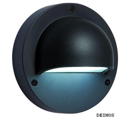 Lampa ogrodowa ścienna led Deimos Plug-PlayNowoczesny kinkiet wykonany z aluminium malowanego proszkowo na kolor grafitowy. Źródłem jest energooszczędny moduł led o zimnej barwie światła.  System Plug-Play umożliwia połączenie całego szeregu lamp za pomocą wodoszczelnych przewodów i złączy , które można zakopać w ziemi ( zobacz zdjęcie w galerii oraz produkty pasujące ) $24