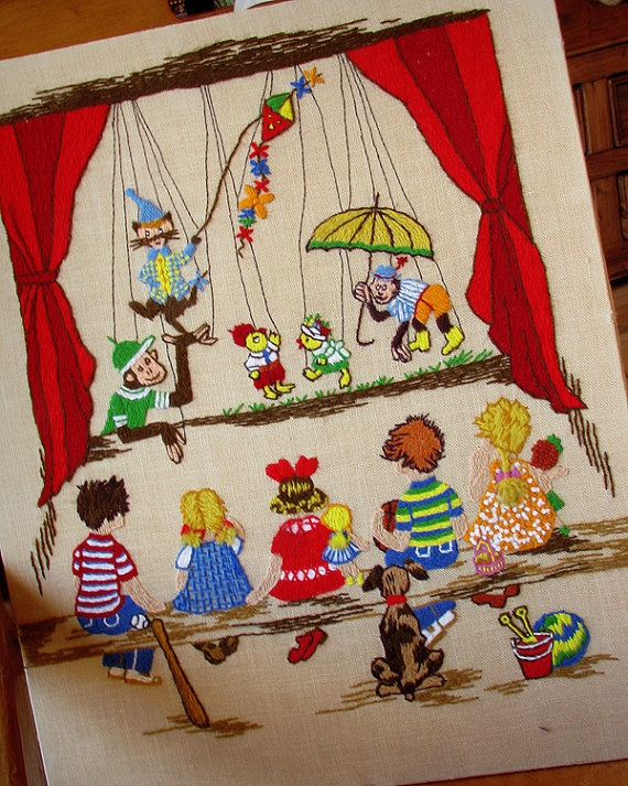 #Embroidery. This is no longer available. But I wanted to share this puppet theater embroidery with you all!