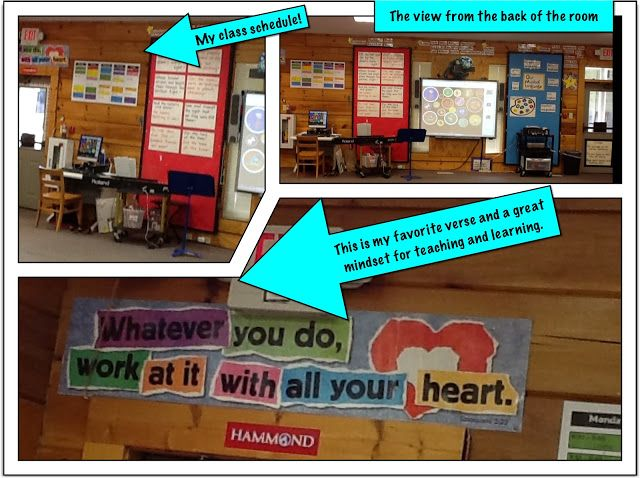 """Love this quote right above the entrance to the music room. """"Whatever you do, work at it with all your heart."""""""