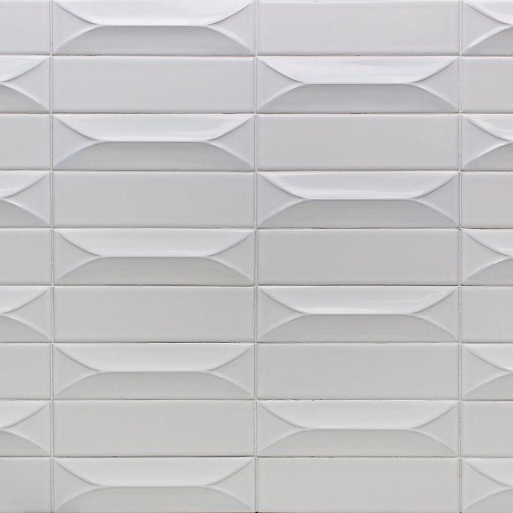Byzantine Bianco 3D Ceramic Subway Tile in 2019  Tiles
