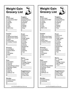 Athletes, body-builders, and those seeking to gain weight in a healthy way can use this grocery list that focuses on protein, supplements, and whole grains. Free to download and print