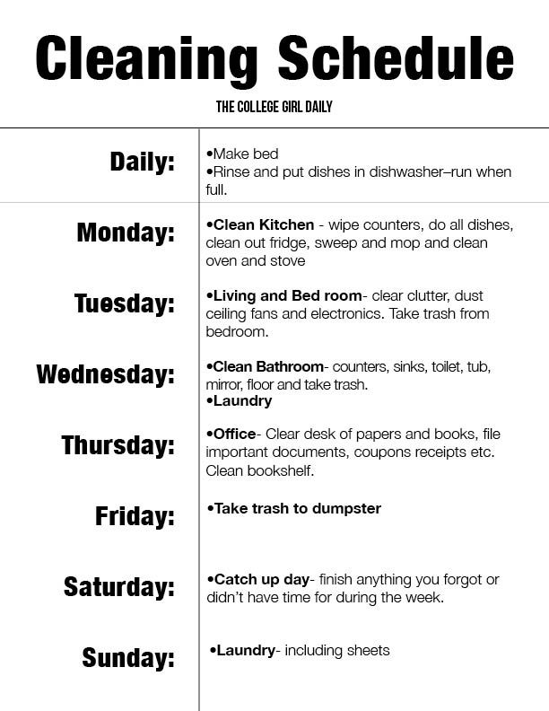 printable apartment cleaning schedule