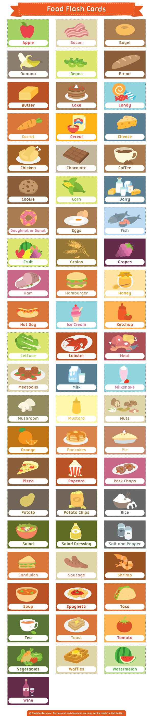 Free printable food flash cards. Download them in PDF format at http://flashcardfox.com/download/food-flash-cards/