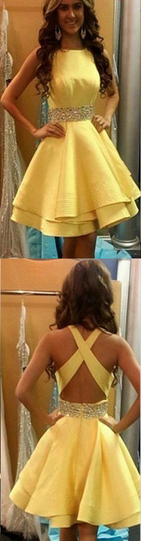 Yellow Knee Length Homecoming Dresses/Prom Dresses , Dresses for Homecoming