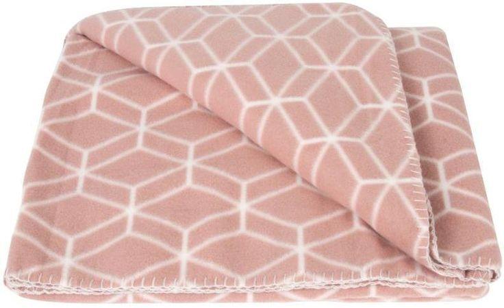 Fleece deken Hexagon -Dusty Roze - Present Time Living  Heerlijk zacht en warm/