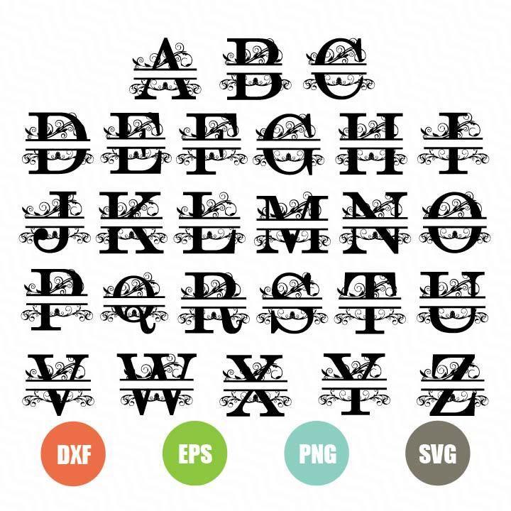 Download Free Split Letters SVG - TopFreeDesigns   Free monogram ...