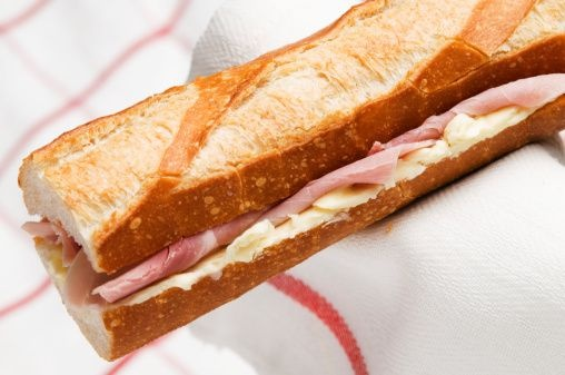 A typical french sandwich the jambon beurre with ham and - Recette sandwich froid baguette ...