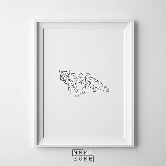 Fox Print, Geometric Wall Art, Scandinavian Poster, Large Portrait, Woodlands Animal, Modern Design, Nursery Room Decor, PDF, Instant Download, Affiche Scandinave, Digital, Geometrical, Contemporary, Forest, Baby Shower Gift, Babies, Scandi