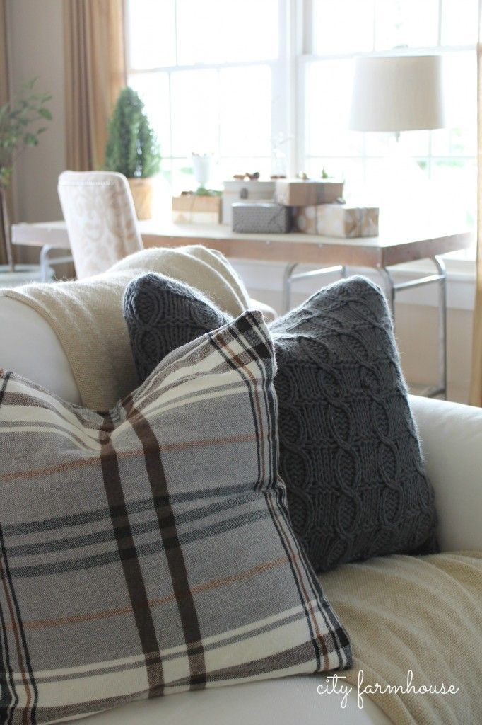 Great idea!  Plaid flannel and winter sweater pillow covers for the holidays!: