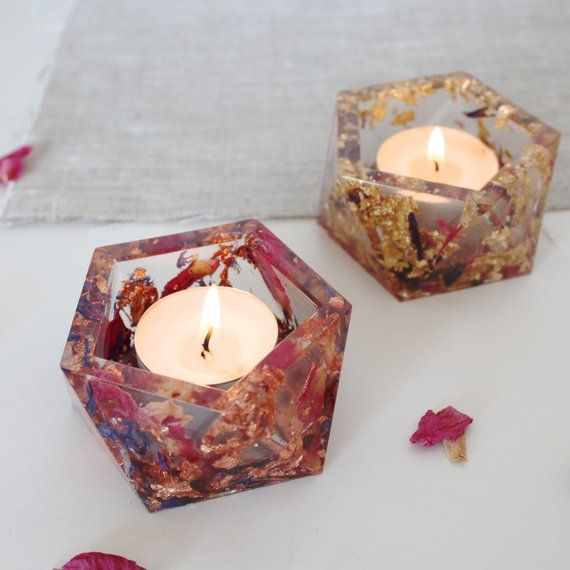 Geometric Resin Dried Flowers Copper Gold Tealight Candle Holder