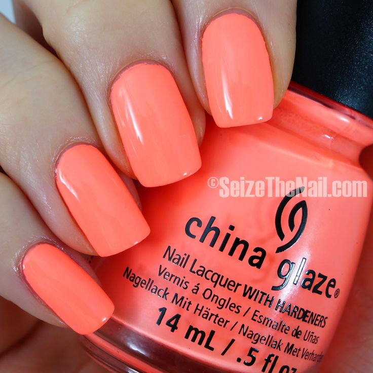 China Glaze FLIP FLOP FANTASY~ coral-ish peachy orange neon pastel. Bright Summer Nail Polish.