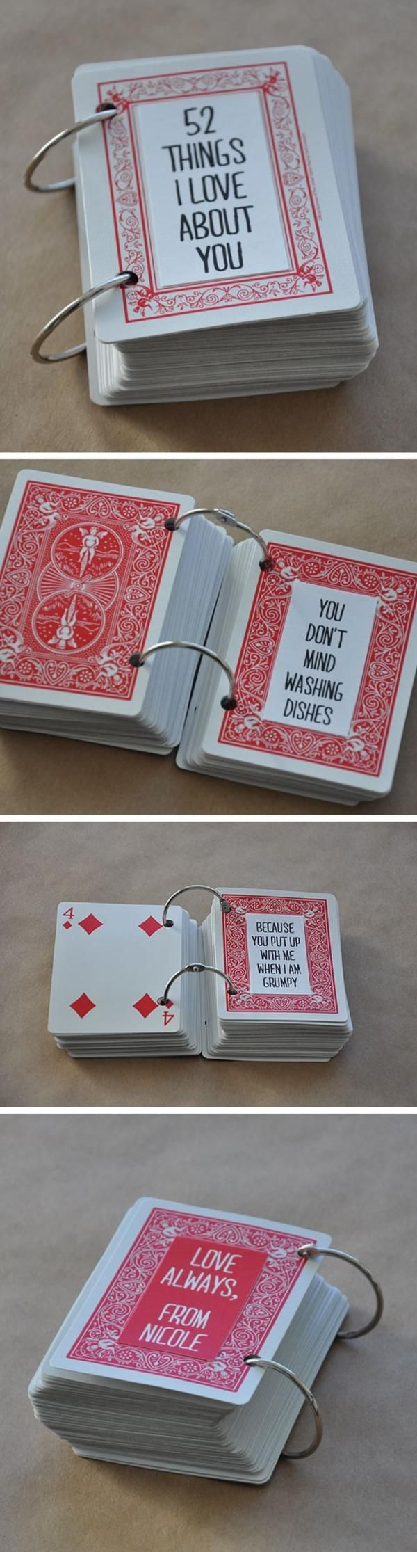 """52 Things I love about YOU"" Created From a Deck of Cards and three Rings FROM: baralho do amor"
