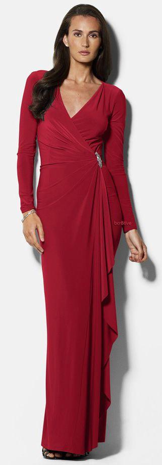 Lauren Ralph Lauren Embellished Jersey Gown -- Free Shipping