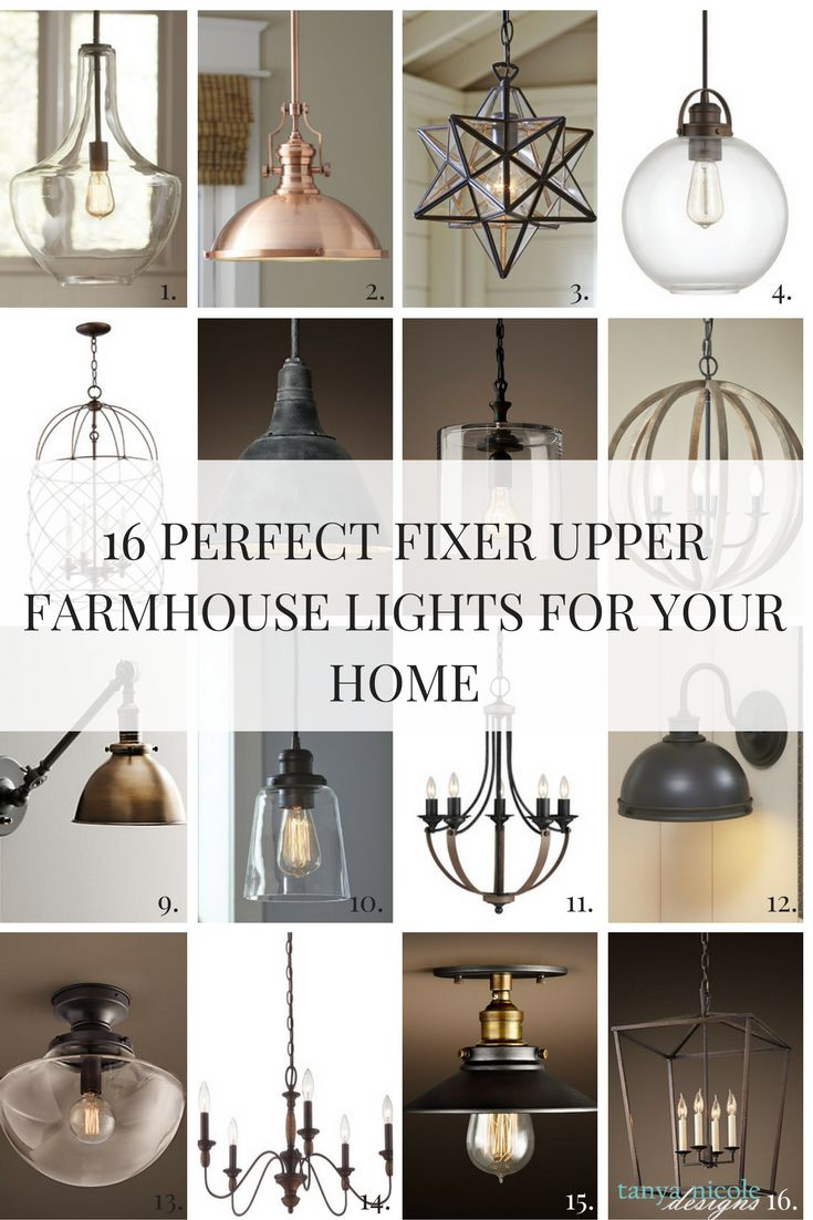 Farmhouse Style Light Fixtures A farmhouse style home just wouldn't be complete without the perfect light fixtures.  I have shared a list of the perfect fixer upper farmhouse style lights that you can incorporate into your home.