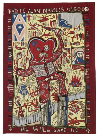 Grayson Perry Vote Alan Measles for God  2008 http://www.bannersofpersuasion.com