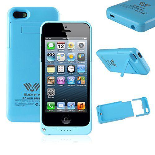 SAVFY - Funda Carcasa Con Batería Cargador-batería Externa Recargable 2200mAh Para iPhone 5 5S (Azul) - http://www.tiendasmoviles.net/2016/01/savfy-funda-carcasa-con-bateria-cargador-bateria-externa-recargable-2200mah-para-iphone-5-5s-azul/