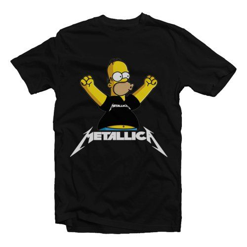 Homer Simpsons Metallica Black by The Ziel City. Black t-shirt that made room cotton combed 20 s, with Homer Simpsons wearing metallica t-shirt print. This black t-shirt look so cool and funny, perfect t-shirt for casual wear. http://www.zocko.com/z/JG9wY