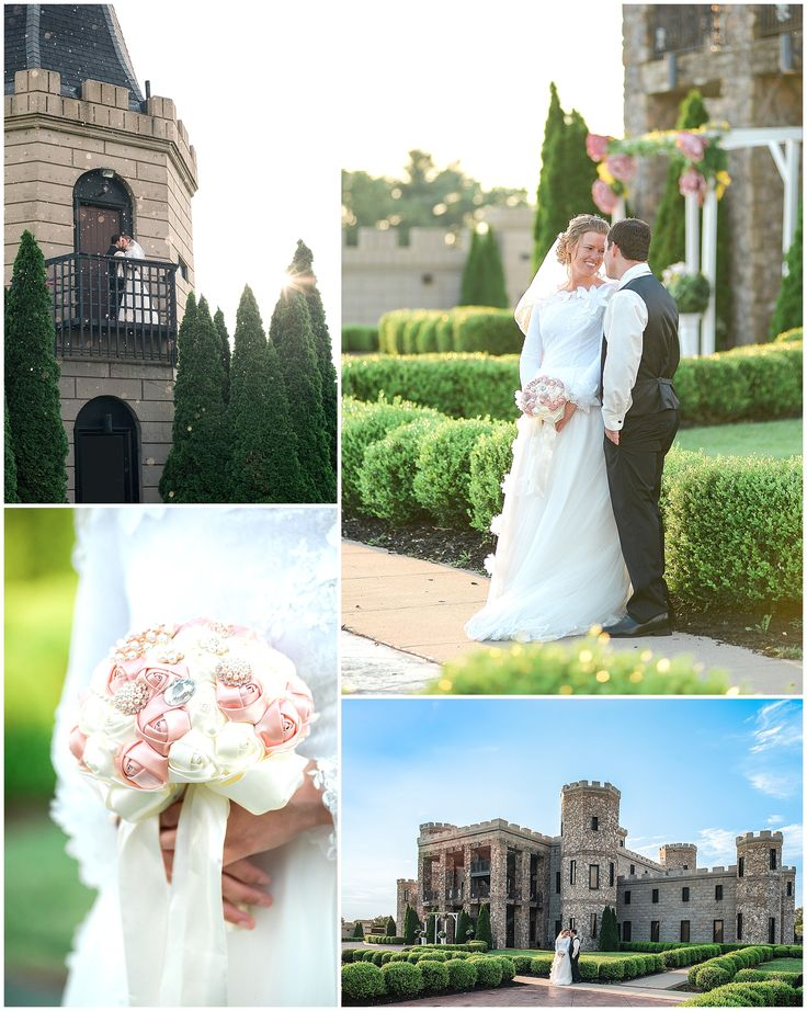 Kentucky castle wedding at CastlePost.  Versailles, KY.  Romantic sunset bride and groom photos.  Wedding photos at a castle.  Modest wedding dress.  Apostolic Pentecostal Wedding.  Brooch bouquet.  Keith & Melissa Photography, Kentucky wedding photographers