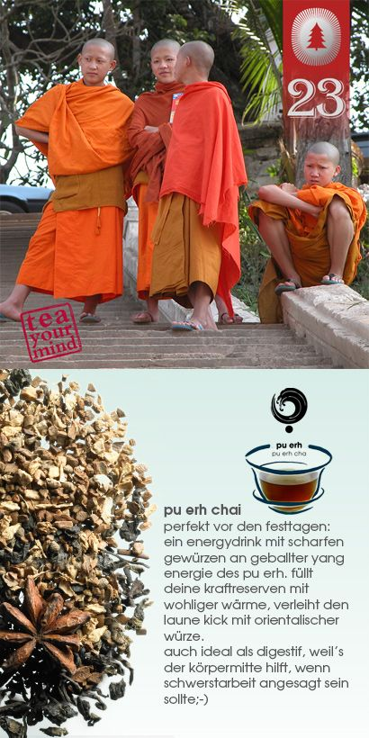 pu erh tee bringt den körper, der chai die geschmackssinne auf temperatur. der anheizer: etwas orient im reich der mitte: feuriger chai trifft auf heißen pu erh tee – der lässt niemanden kalt und hinterlässt nachhaltigen eindruck von würziger note. exklusive tee komposition in blattqualität mit pu erh tee, der to go über den tag versorgt und mit seinem wärenden yang wesen dir neue energie verleiht. #chai #puerh #tee #shuyao #teekultur #teayourmind #yang