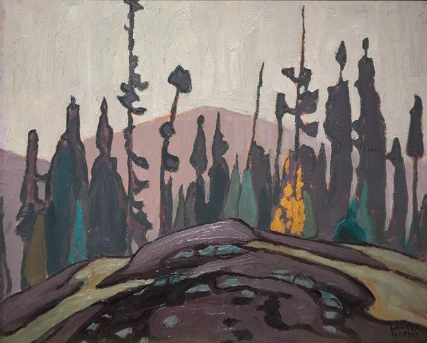 Lawren Harris - Rock Spruce and Hill (Lake Superior Sketch C) 10.5 x 14 Oil on wood (c. 1921)