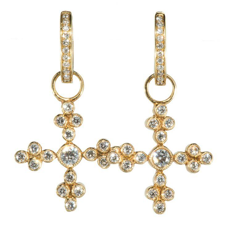 1stdibs.com | Lustrous  gold and Diamond Cross Earrings with Huggies