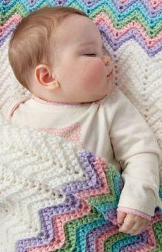 Rickrack Rainbow Baby Blanket Free Crochet Pattern from Red Heart Yarns