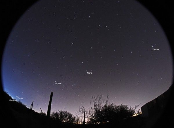 From late January, and through mid-February, 5 bright planets were visible at once in the predawn sky. This image is from February 8, 2016.  It's by Eliot Herman in Tucson, Arizona.  View on Flickr.