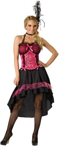 Tantalize and tease your date in this Saloon Gal Costume. Costume includes dress and corset. Available in adult sizes small, medium, large, and extra large. Does NOT include fishnets, choker, headpiec