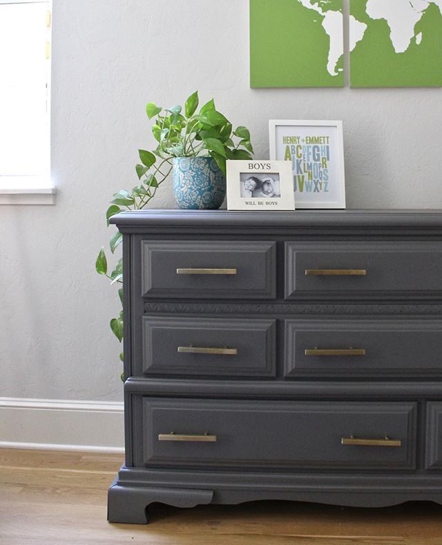 Wood Dresser Painted With Dark Gray, Gray Chalk Paint Furniture