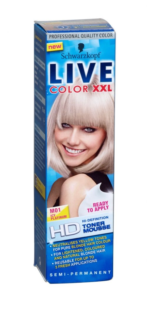 Ready to apply hi-definition toner mousse by Schwarzkopf. Semi permanent.  Neutralises yellow tones for pure blonde colour. For lightened, coloured and natural blonde hair. Reusable for up to 3 fresh applications.