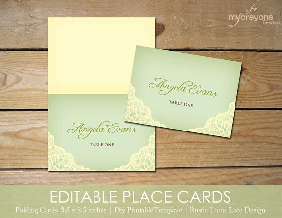 templates for place cards for weddings - editable place cards template by mycrayons instant